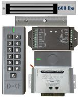 BS-SK7 Wireless Keypad & Card Reader Access Control System, IP66 + Wireless Exit Button + 12V DC Power Adapter + EL600 Maglock 600 lbs