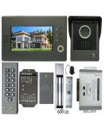 High Quality VDP-C37 Video Door Phone 7' Monitor with Weatherproof Outside Camera + BS-SK7 Wireless Keypad, IP66, ID Card Access_Control + POWER ADAPTER + Wireless Exit Button+ EL600 Maglock