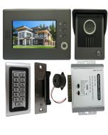 High Quality VDP-C37 Video Door Phone 7' Monitor with Weatherproof Outside Camera + SA-600 Standalone , Keypad, ID Card Access_Control + POWER ADAPTER + Electric Strike