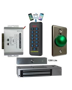 BS-33 Wifi Mobile APP, Card, Code, Card+Code 4in1 Waterproof Access Control + Power Adapter + Exit Button + EL-1200 Maglock 1200 lbs