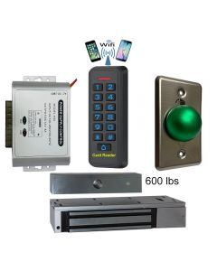 BS-33 Wifi Mobile APP, Card, Code, Card+Code 4in1 Waterproof Access Control + Power Adapter + Exit Button + EL-600 Maglock 600 lbs