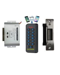 BS-33 Wifi Mobile APP, Card, Code, Card+Code 4in1 Waterproof Access Control + NU-06 Power Adapter + NJ-320 ANSI Heavy Duty Electric Strike