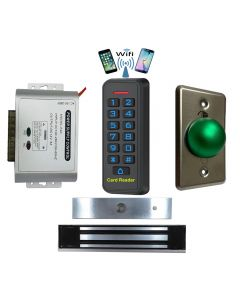 BS-33 Wifi Mobile APP, Card, Code, Card+Code 4in1 Waterproof Access Control + Power Adapter + Exit Button + NW-250 Waterproof Maglock 600 lbs Holding force