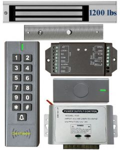 BS-SK7 Wireless Keypad & Card Reader Access Control System, IP66 + Wireless Exit Button + 12V DC Power Adapter + EL1200 Maglock 1200 lbs