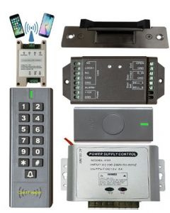 BS-SK7 Wireless Keypad & Card Reader Access Control System IP66 + Wireless Exit Button + G1 Wifi Module + 12V DC Power Adapter + NJ320 Electric Strike
