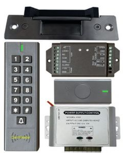 BS-SK7 Wireless Keypad & Card Reader Access Control System, IP66 + Wireless Exit Button + 12V DC Power Adapter + NJ320 Electric Strike