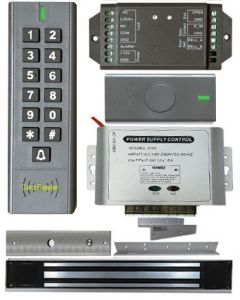 BS-SK7 Wireless Keypad & Card Reader Access Control System, IP66 + Wireless Exit Button + 12V DC Power Adapter + NW-250 Waterproof Maglock 600 lbs + LB-ZB Bracket