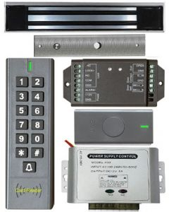 BS-SK7 Wireless Keypad & Card Reader Access Control System, IP66 + Wireless Exit Button + 12V DC Power Adapter + NW-250 Waterproof Maglock 600 lbs