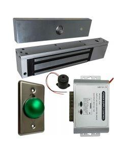 EL-600 Maglock 600 LBs + 12V Adapter Controller NO/NC + Exit Button Kit