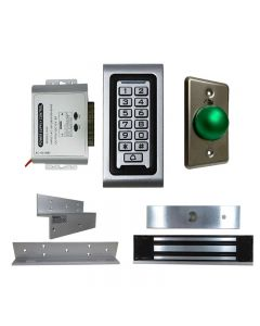 SA-600 STANDALONE ACCESS CONTROL + POWER ADAPTER CONTROLLER-NO/NC + EXIT BUTTON + NW-250 600 LBS MAGLOCK + LB-ZB Bracket