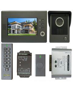 High Quality VDP-C37 Video Door Phone 7' Monitor with Weatherproof Outside Camera + BS-SK7 Wireless Keypad, IP66, ID Card Access_Control + POWER ADAPTER + Wireless Exit Button