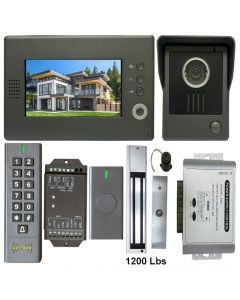 High Quality VDP-C37 Video Door Phone 7' Monitor with Weatherproof Outside Camera + BS-SK7 Wireless Keypad,IP66, ID Card Access_Control + POWER ADAPTER + Wireless Exit Button+ EL1200 Maglock