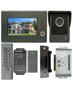 High Quality VDP-C37 Video Door Phone 7' Monitor with Weatherproof Outside Camera + BS-SK7 Wireless Keypad, IP66, ID Card Access_Control + POWER ADAPTER + Wireless Exit Button+ NJ320 Electric Strike