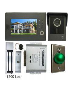 High Quality VDP-C37 Video Door Phone 7' Monitor with Weatherproof Outside Camera + POWER ADAPTER + EXIT BUTTON + 1200 LBS MAGLOCK