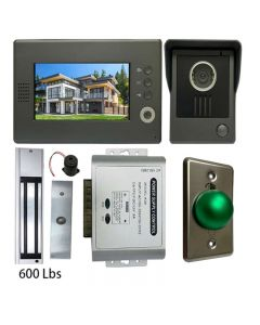 High Quality VDP-C37 Video Door Phone 7' Monitor with Weatherproof Outside Camera + POWER ADAPTER + EXIT BUTTON + 600 LBS MAGLOCK