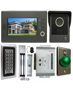 High Quality VDP-C37 Video Door Phone 7' Monitor with Weatherproof Outside Camera + SA-600 Standalone , Keypad, ID Card Access_Control + POWER ADAPTER + EXIT BUTTON + 600 LBS MAGLOCK