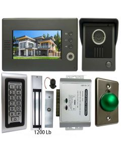 High Quality VDP-C37 Video Door Phone 7' Monitor with Weatherproof Outside Camera + SA-600 Standalone , Keypad, ID Card Access_Control + POWER ADAPTER + EXIT BUTTON + 1200 LBS MAGLOCK