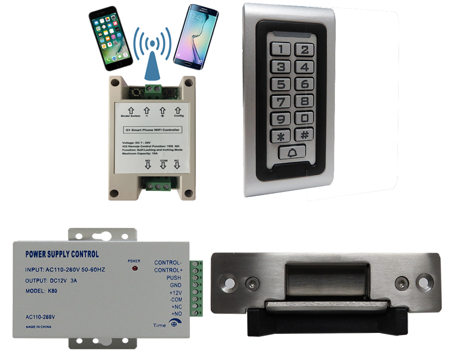 G1 WIFI MODULE APP SMART PHONE CONTROLLED + SA-600 STANDALONE ACCESS CONTROL + POWER ADAPTER + ELECTRIC STRIKE