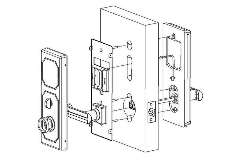 BS-201 Cylindrical Latch Key Card Hotel Lock